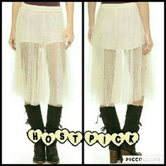 SALE Free People Lacey Culottes These culottes are brand new. They are the Lacey Culottes in Alabaster which is an off white, light cream color. Ethereal lace shapes culottes that are predominantly pleated and cut at the knee for a whimsical, whisked away look. Made of 100% nylon. Tag size is 6. Free People Pants