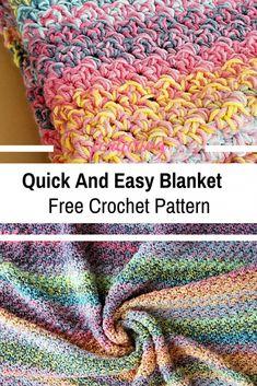 Quick And Easy Crochet Blanket Pattern For Beginners - Knit , schnelles und einfaches häkeldeckenmuster für anfänger - stricken , patron de couverture au crochet rapide et facile pour les débutants - tricot Crochet Unique, Crochet Simple, Crochet For Beginners Blanket, Knitting For Beginners, Start Knitting, Easy Knitting, Knitting Needles, Beginner Crochet Blankets, Free Crochet Patterns For Beginners