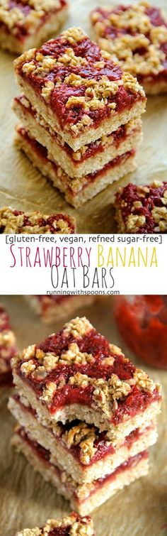 You'd never believe that these soft and chewy strawberry banana oat bars are vegan, gluten-free, refined sugar-free, and made without any butter or oil! The perfect healthy breakfast or snack! Vegan Baking, Healthy Baking, Healthy Food, Healthy Bars, Vegan Food, Sugar Free Recipes, Gluten Free Recipes, Vegetarian Recipes, Sugar Free Snacks