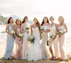Bridesmaids in romantic beach-y dresses