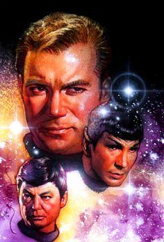 Star Trek - Captain Kirk, Spock, and Dr. McCoy by Drew Struzan Star Trek 1, Star Trek Series, Star Trek Original, Akira, Star Trek Captains, Star Trek Images, The Lone Ranger, Starship Enterprise, Star Trek Universe