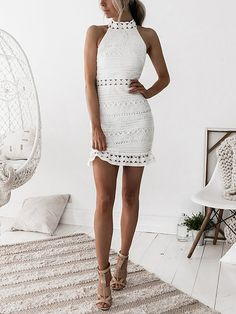 White Lace Cut Out Design High Neck Sleeveless Dress US$15.99