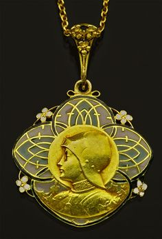 This is not contemporary - image from a gallery of vintage and/or antique objects. ART NOUVEAU  Joan of Arc Pendant  Gold Plique-à-jour enamel
