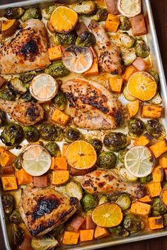 One Sheet Pan Garlic and Citrus Chicken with Brussel Sprouts and Sweet Potatoes - Tender, falling apart chicken with roasted veggies all on ONE sheet pan! #roastedbrusselsprouts #roastedsweetpotatoes #roastedchicken   Littlespicejar.com