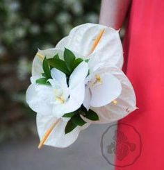 white Orchids and Anthuriums #bouquet #boda by https://www.facebook.com/irisdesign.pv?ref=hl #weddings #puertovallarta