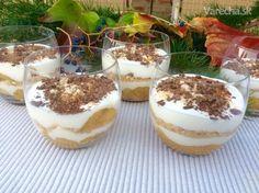 Smotanové poháre s jablkovo-banánovou vrstvou (fotorecept) - Recept Tiramisu, Sweet Tooth, Cheesecake, Goodies, Food And Drink, Pudding, Sweets, Drinks, Breakfast