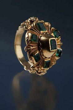 Emerald & Gold Ring, Spain 17th C. ‪‬