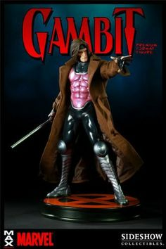 """Gambit Premium Format Figure by Sideshow Collectibles. $1199.99. Product Size: 20"""" H (508mm) x 18"""" W (457.2mm) x 18"""" D (457.2mm). Limited Edition: 1000 pcs!. The Gambit Premium Format figure captures every aspect of this classic MARVEL character with stunning realism. Each piece is individually painted and finished to exacting standards, each with its own unique quality and detail that is the trademark of a handcrafted Sideshow Collectibles product. The hand-tailored fabric cos..."""