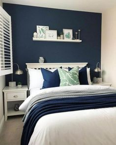 Bold Bedroom Paint Colors: Popular Bedroom Paint Colors That Give You Positive Blue Feature Wall Bedroom, Yellow Bedroom Paint, Navy Blue Bedrooms, Best Bedroom Paint Colors, Blue Master Bedroom, Blue Bedroom Walls, Blue Bedroom Decor, Home Bedroom, Guest Bedroom Colors