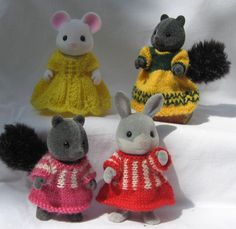 Knitting pattern Sylvanian Families & Calico Critters clothes: Frocks- ebay