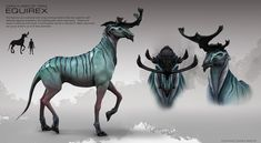 The Equirex is a mammal with long arching antlers that are used for self defense against predators and jostling with other equirexes. These are social creatures and move in small packs led by a matriarch. Alien Creatures, Mythical Creatures Art, Curious Creatures, Wild Creatures, Magical Creatures, Alien Concept Art, Creature Concept Art, Creature Design, Creature Feature