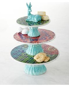 Folklore Holiday Three-Tier Dessert Stand - MULTI COLORS from Horchow   BHG.com Shop