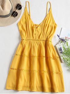Yellow Cami Dress, Yellow Summer Dress, Short Yellow Dress, Yellow Mini Dress - Yellow Hollow Out A Line Cami Dress: New Cute Dresses, Casual Dresses, Casual Outfits, Summer Dresses, Yellow Dress Summer, Floral Dresses, Trendy Dresses, Yellow Dress Casual, Short Dresses