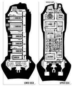 A sci-fi cargo ship floorplan for any futuristic RPG - Star Wars, Traveller, Alternity or Warhammer 40k. Designed  by RB, originally used in Valkyrie Magazine.