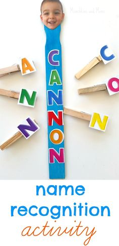 Clothespin Name Recognition Activity- a great craft to make with preschool students the first week of school!: Clothespin Name Recognition Activity- a great craft to make with preschool students the first week of school! by nettie Preschool Names, Preschool Classroom, Preschool Learning, Classroom Activities, Preschool Activities, Kids Learning, Preschool First Week, Preschool Letters, Learning Letters
