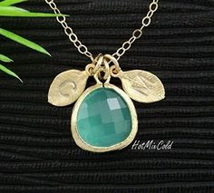 Personalized Small Opal Blue Bezel Necklace, Without or Initials Leaf Charm Necklace, Gold or Silver with your choice of birthstone color * Visit the image link more details.