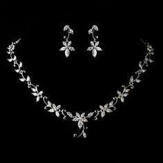 Floral CZ Wedding jewelry set ne1403