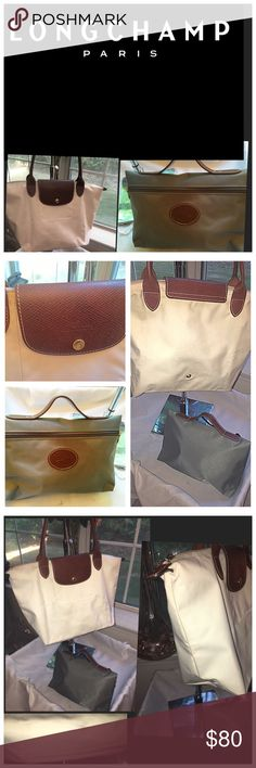 2 LONGCHAMP LE PILAGE BAGS, LARGE & COSMETIC Ladies, I am offering you 2 LONGCHAMP Bags. The large white bag is gently used. There are a few light marks on the bottom and corners and it is typical wear with this light color even though it was used about 6 times. Clean it with warm water and a little soap when needed. The army green cosmetic bag is like new. Used one time it is in pristine condition. Please ask questions and take 10% off for Labor Day. Longchamp Bags Totes