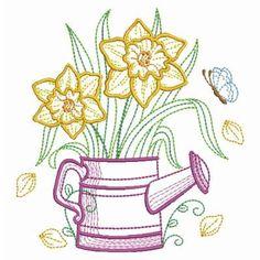 Vintage Flowering Watering Can Simple Embroidery, Paper Embroidery, Vintage Embroidery, Custom Embroidery, Floral Embroidery, Machine Embroidery Designs, Embroidery Stitches, Embroidery Patterns, Quilt Patterns