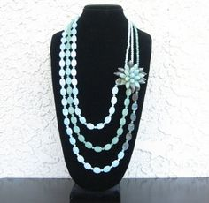 Amazonite Three strands necklace with a beaded flower, PR100