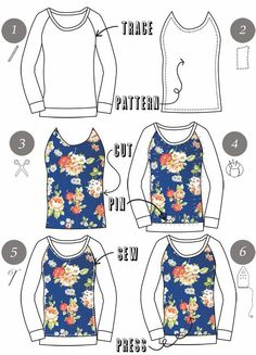 Über Chic for Cheap: Tutorial: Floral Panel Top. How to Add a fabric panel to a top. Sewing Hacks, Sewing Tutorials, Sewing Crafts, Sewing Projects, Diy Clothing, Clothing Patterns, Sewing Patterns, Sewing Dress, Sewing Clothes