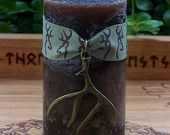 NOBLE BEAST Gofugt Dyr Stag Pillar Candle w/ Antlers for Northern Tradition Shamanism, Wisdom Initiation, Wode Consciousness, Rune Magic