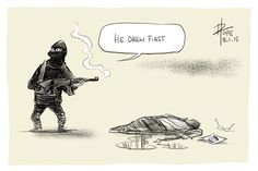 Cartoonists react to 1-8-2015 barbaric attack on French satirical newspaper Charlie Hebdo in Paris...the power of the pen; freedom lives. This by David Pope; Aussie cartoonist.