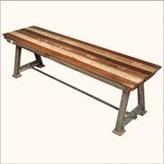 Rustic Solid Teak Wood Industrial Wrought Iron Bench Outdoor Patio Furniture | eBay