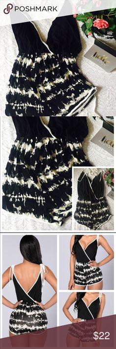 Dyeing For More Romper - Black - Small 🔸Color: Black & White 🔸Spaghetti Tie Straps 🔸Surplice V Neckline 🔸Tie Dye Print Bottom 🔸Made in USA 🔸96% Polyester 4% Spandex Fashion Nova Shorts
