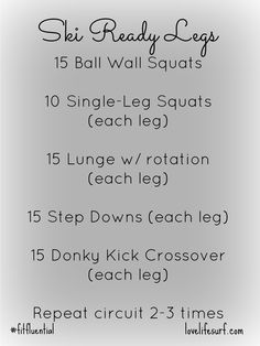 ski ready legs workout