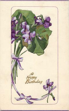 Old Post Сards — Violets left & above, 1911  (1022x1644)