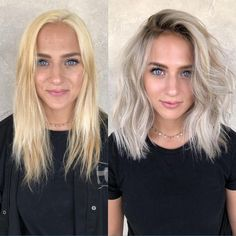 Icy Hair, Ombre Hair, Black To Blonde Hair, Icy Blonde, Blonde Hair With Dark Roots, Platnium Blonde Hair, Toning Blonde Hair, Toner For Blonde Hair, Platinum Blonde Balayage