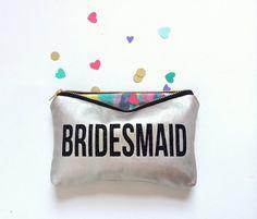 Bridesmaid Gift Makeup Clutch Bag // Black & Platinum Leather