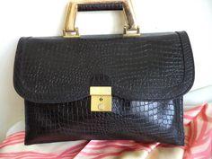 Vermillion vintage bag crocodile leather Black by MushkaVintage3
