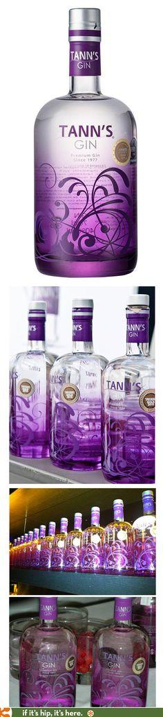 Tann's Gin in a pretty purple ombre bottle.