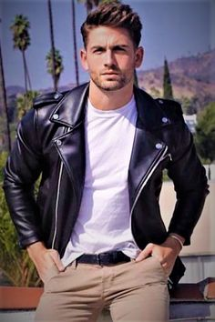 Classic leather with white tee and Kakies.