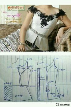 pattern by ma mya thida Dress Sewing Patterns, Blouse Patterns, Clothing Patterns, Blouse Designs, Bodice Pattern, Make Your Own Clothes, Couture Sewing, Fashion Design Sketches, Pattern Drafting