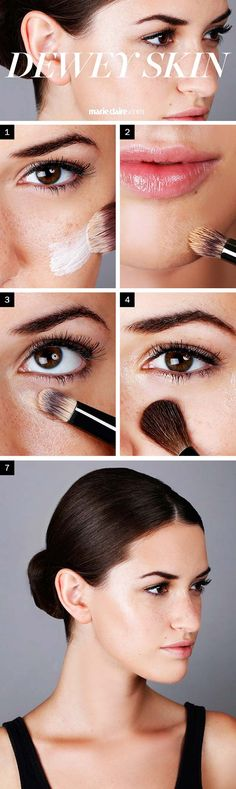 33 Makeup Tips and Tricks To Make You Look Less Tired - 5 Steps to Dewy Skin - Eye Bags and Oily Skin? Check Out These Makeup Tips and Tricks to Make You Look Less Tired. Great Tips, Beauty Products and How Tos for All Types of Faces - thegoddess.com/makeup-tips-look-less-tired