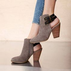 Austin suede slingback buckle bootie in Dark Mushroom | Sole Society