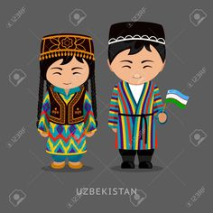Illustration of Uzbeks in national dress with a flag. Man and woman in traditional costume. Travel to Uzbekistan. vector art, clipart and stock vectors. Man Vector, Vector Art, Costumes Around The World, Anastasia, Thinking Day, Vintage Paper Dolls, People Of The World, Flat Illustration, Banner Printing