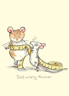 Two Bad Mice Greeting Card - Definitely Thinner by Anita Jeram Cute Drawings, Animal Drawings, Art And Illustration, Anita Jeram, Cute Mouse, Children's Picture Books, Illustrators, Cute Pictures, Character Design
