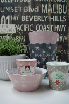 New Bowls and Mugs from Krasilnikoff Pip Studio, Bowls, Cath Kidston, Popcorn, Planter Pots, Chips, Ceramics, Dishes, Mugs