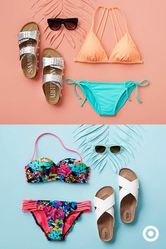 Wondering which bathing suit to pack? With mix-and-match bikinis, you don't have to pick just one. (Hint: that floral bandeau will also look great with those side-tie bottoms.) Add cute sandals and sunglasses to complete the look.