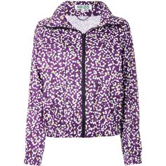 Kenzo floral jacket ($415) ❤ liked on Polyvore featuring outerwear, jackets, purple jacket, hooded zip jacket, flower print jacket, kenzo jacket and zip jacket