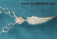 Szeretet Ékszer - ezüst angyalszárnyas medál és lánc rózsakvarc ásvánnyal, égi végtelen szimbólumokkal