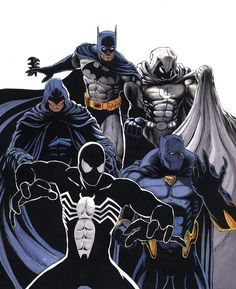 Spider-Man, Black Panther, Shroud, Moon Knight and Batman Batman Wallpaper, Moon Knight, Saturday Morning Cartoons, Black Panther, Marvel Comics, Crossover, Spiderman, Avengers, Comic Books