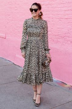 Long Sleeve Leopard Midi Dress