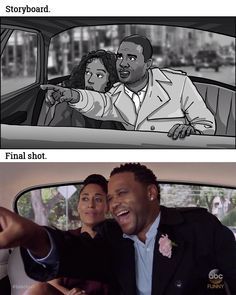 Drawn and shot: Two-shot of Rainbow and Dre in back of cab. Dre points with excitement. Rainbow looks anxious. _ Storyboards by storyboard artist Cuong Huynh. Got A Script? I'll Storyboard It.  #dre #rainbow #blackwoman #blackman #blackish #taxi #pointing #anxious #worried #excited #excitement #looking #backseat #tvshow #tvshows #storyboard #artist #storyboarding #storyboards #drawing #drawings #filmmaking #filmmaker #preproduction #conceptart #filmproduction #illustrator #illustration