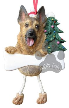 Dangling Leg German Shepherd Dog Christmas Ornament http://doggystylegifts.com/products/dangling-leg-german-shepherd-dog-christmas-ornament