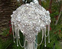CRYSTAL WEDDING BOUQUET Deposit Only for a by Elegantweddingdecor